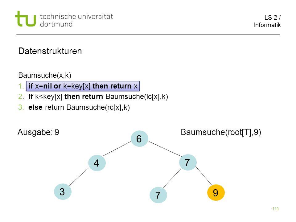 6 4 7 3 9 7 Datenstrukturen Ausgabe: 9 Baumsuche(root[T],9)
